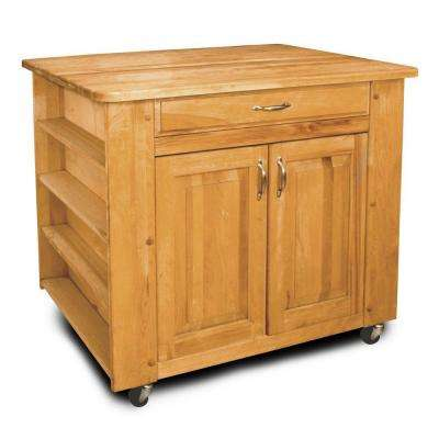 Natural Kitchen Cart With Storage