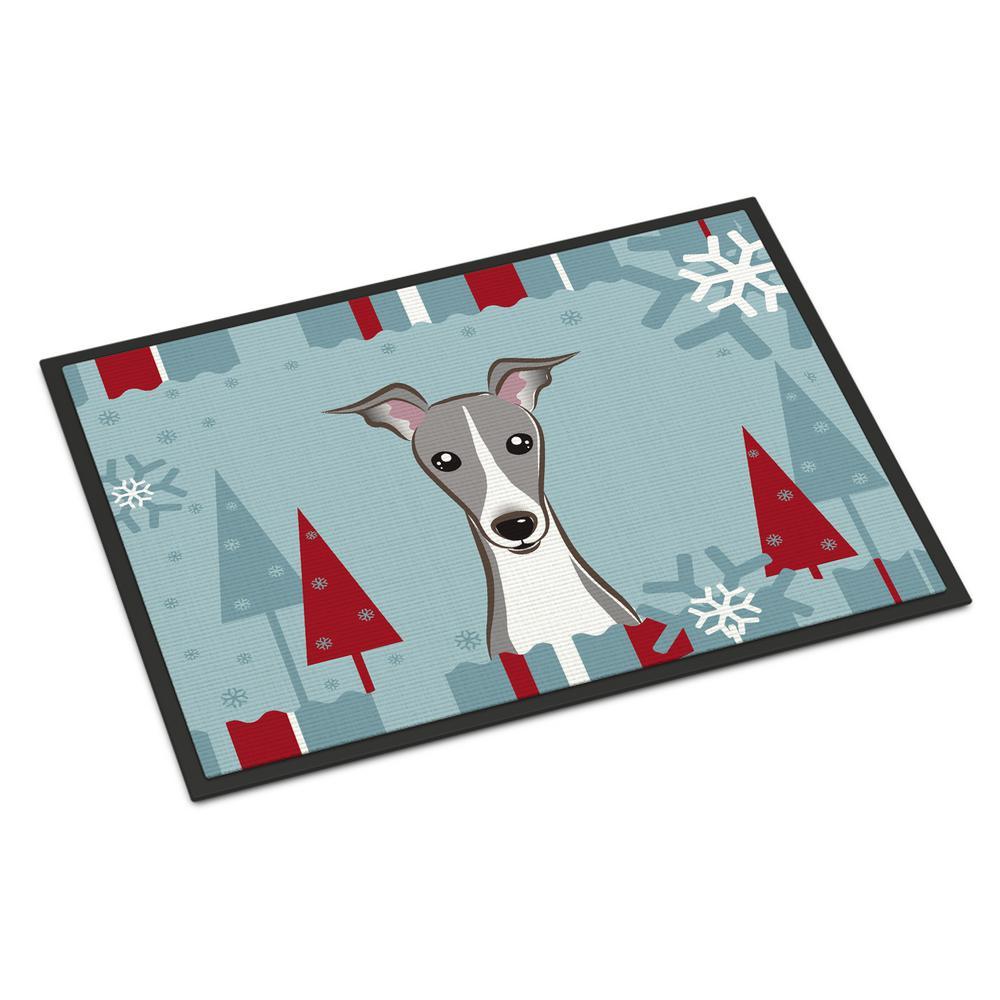 24 in. x 36 in. Indoor/Outdoor Winter Holiday Italian Greyhound Door Mat