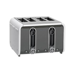 Studio 4 Slice White And Grey Toaster With Crumb Tray