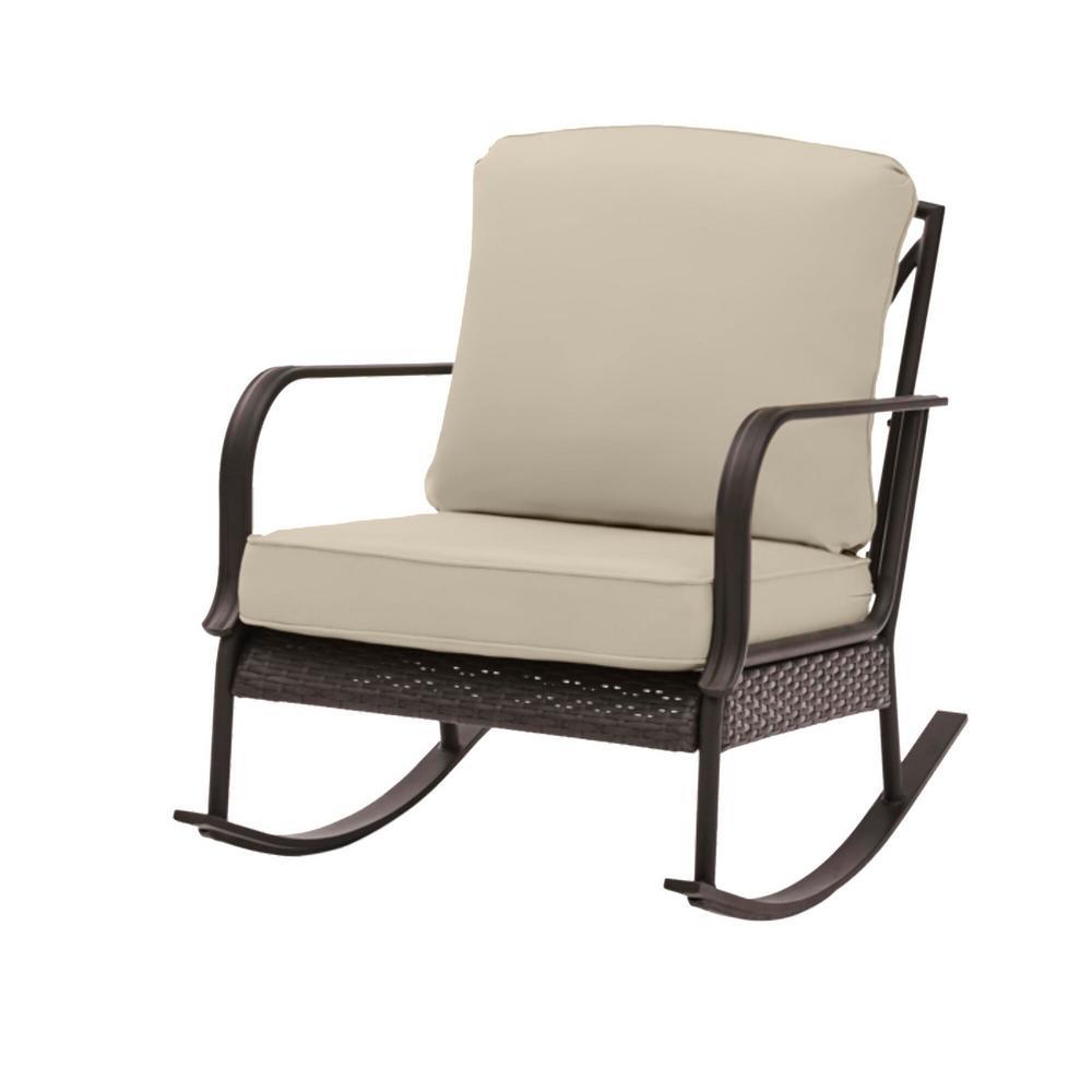 Becker Dark Mocha Steel Outdoor Patio Rocking Chair with CushionGuard Putty Tan Cushions