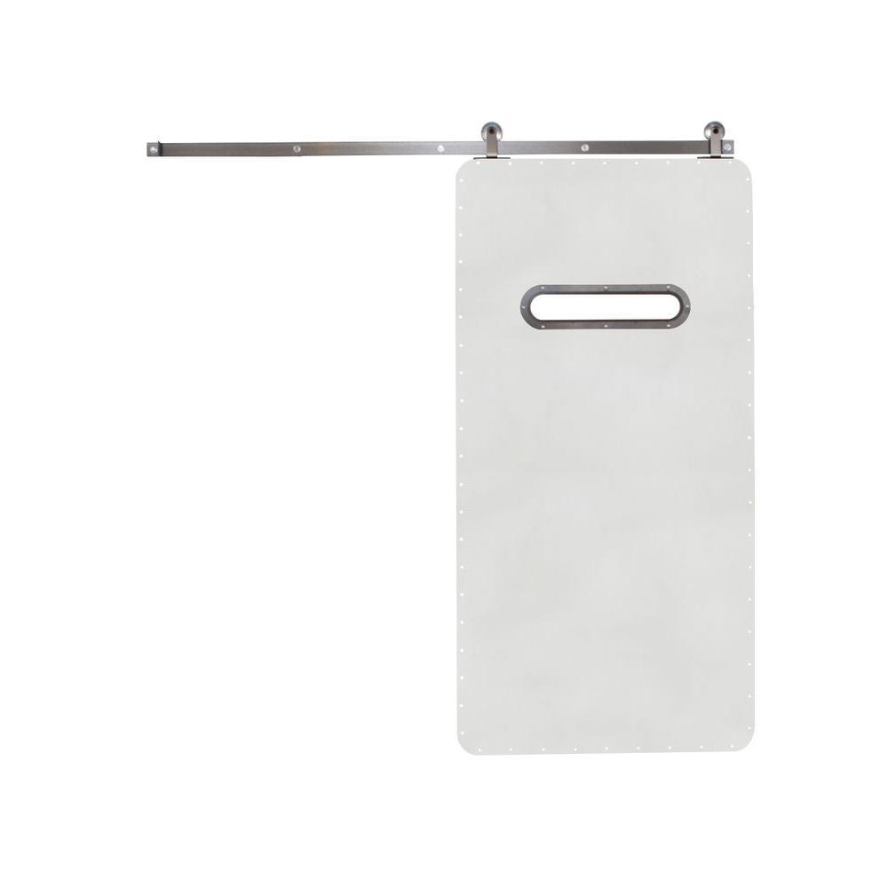 Rustica Hardware 42 in. x 84 in. Modern Range White Wood Barn Door with Top Mount Modern Sliding Door Hardware Kit
