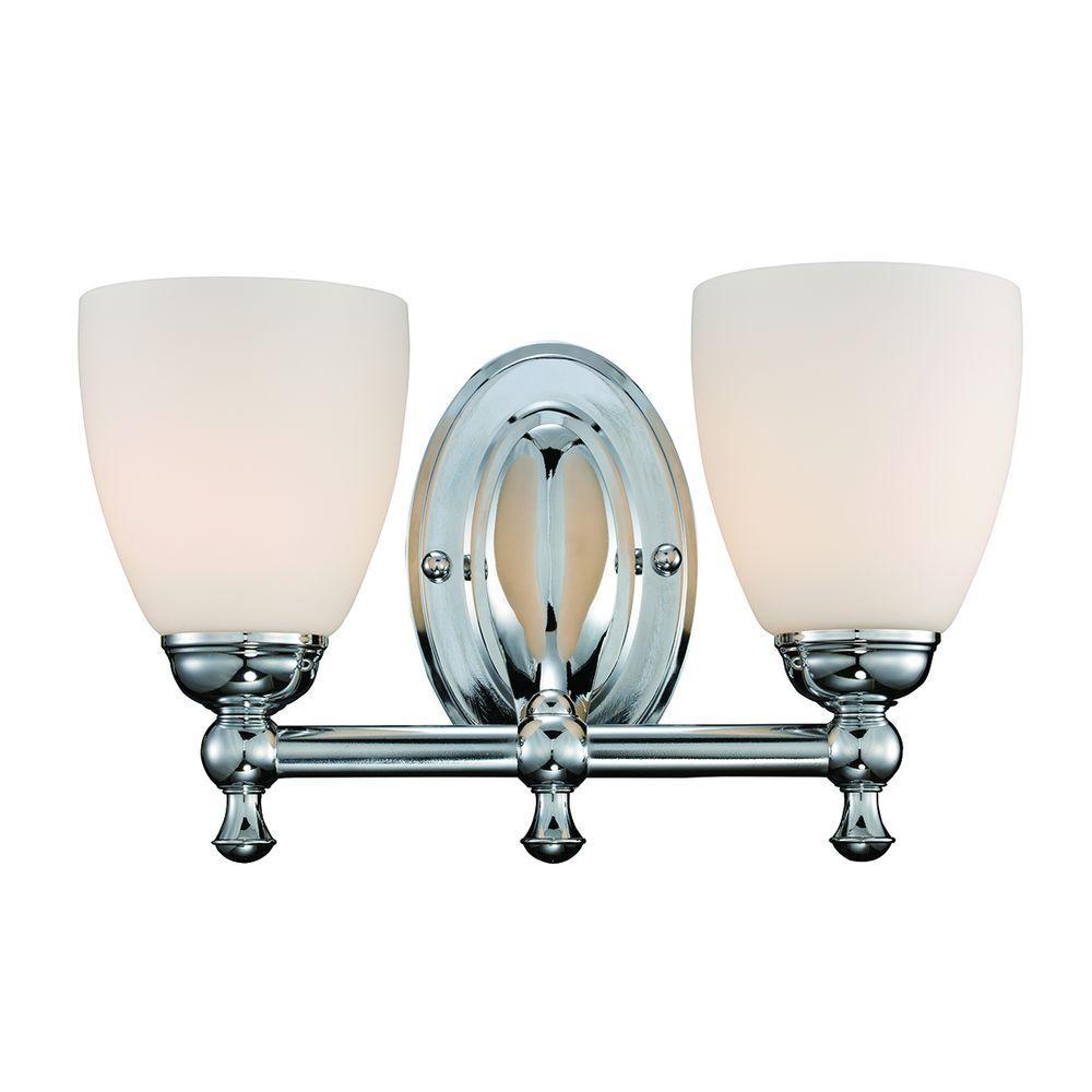 2-Light Polished Chrome Vanity Light with Opal Glass Shades