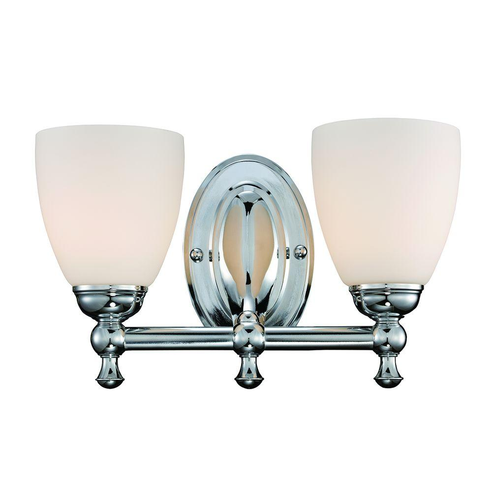 Hampton Bay Solomone 2-Light Polished Chrome Vanity Light with Opal Glass Shades
