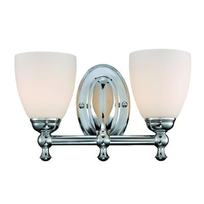 Solomone 2-Light Polished Chrome Vanity Light with Opal Glass Shades