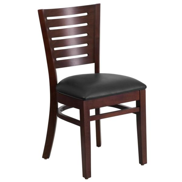 Flash Furniture Darby Series Walnut Slat Back Wooden Restaurant Chair With Black Vinyl Seat Xudgw018walbkv The Home Depot