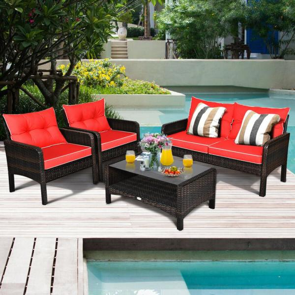4 Piece Wicker Patio Conversation