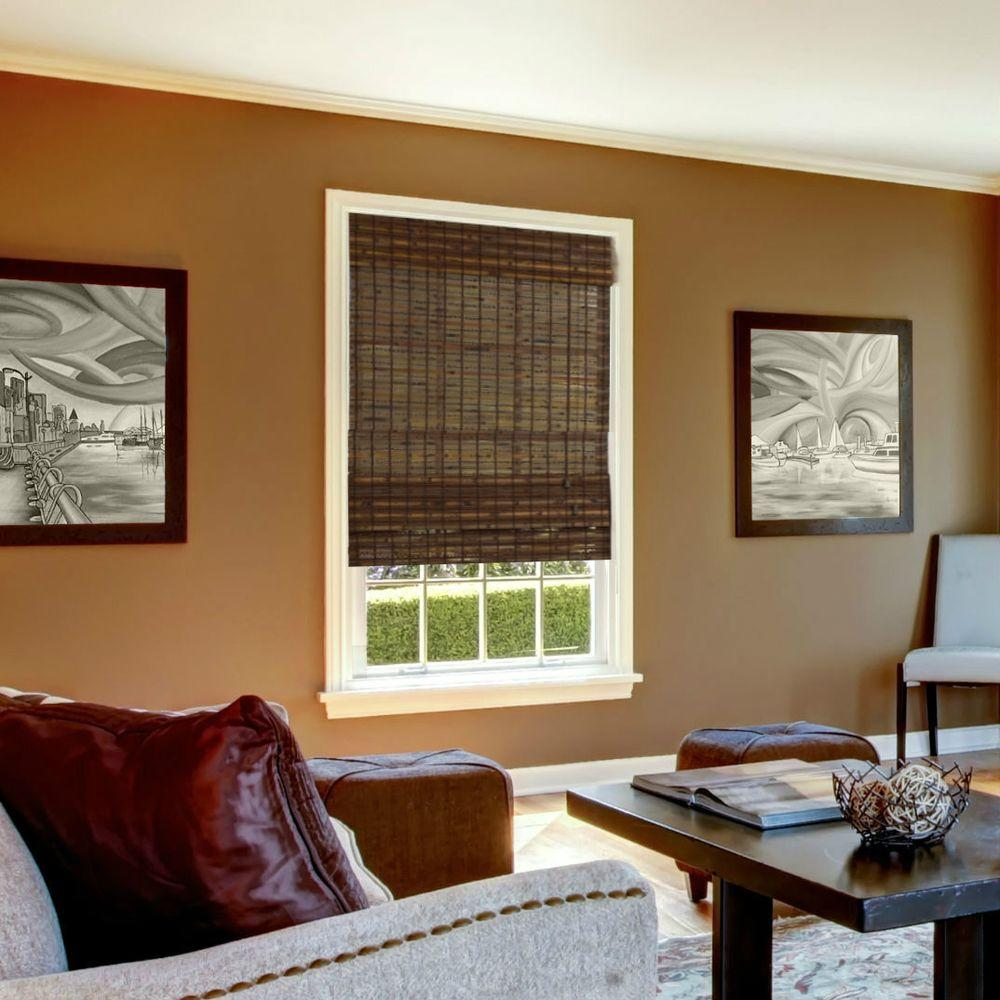 Radiance Cocoa Havana Bamboo Roman Shade - 58 in. W x 64 in. L