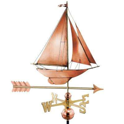 Racing Sloop with Arrow Weathervane-Pure Copper