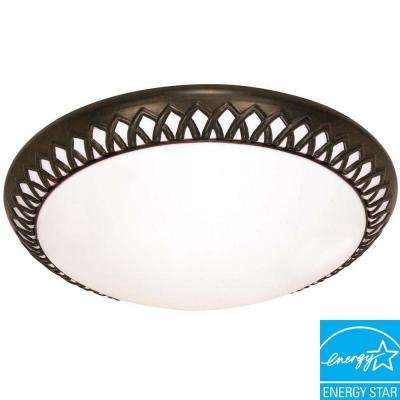 3-Light Old Bronze Flush Mount