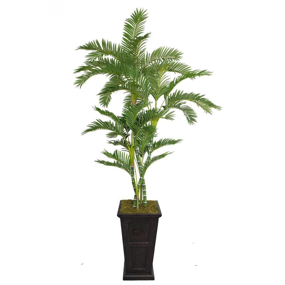 Laura Ashley 91 in. Tall Palm Tree in 16 in. Fiberstone Planter