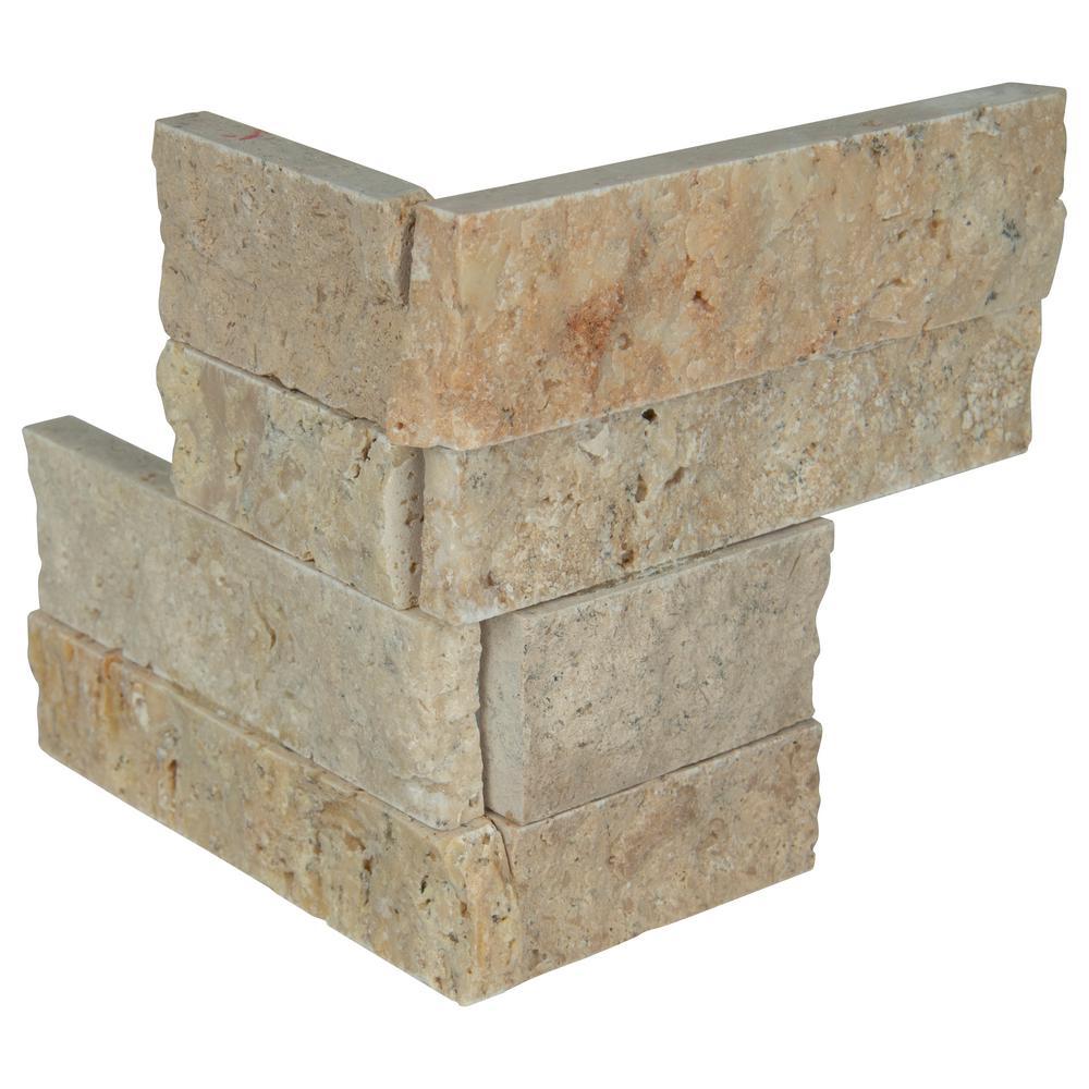 Roman Beige Mini Ledger Panel Corner 4.5 in. x 9 in. Natural Split Face Travertine Wall Tile (4 sq. ft. / Case)