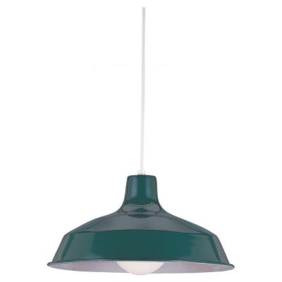 Painted Shade 15.75 in. W 1-Light Emerald Green Warehouse Style Industrial Metal Pendant with 54 in. White Cord
