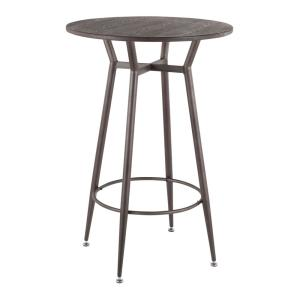 Clara Industrial Round Antique Metal and Espresso Wood Bar Table
