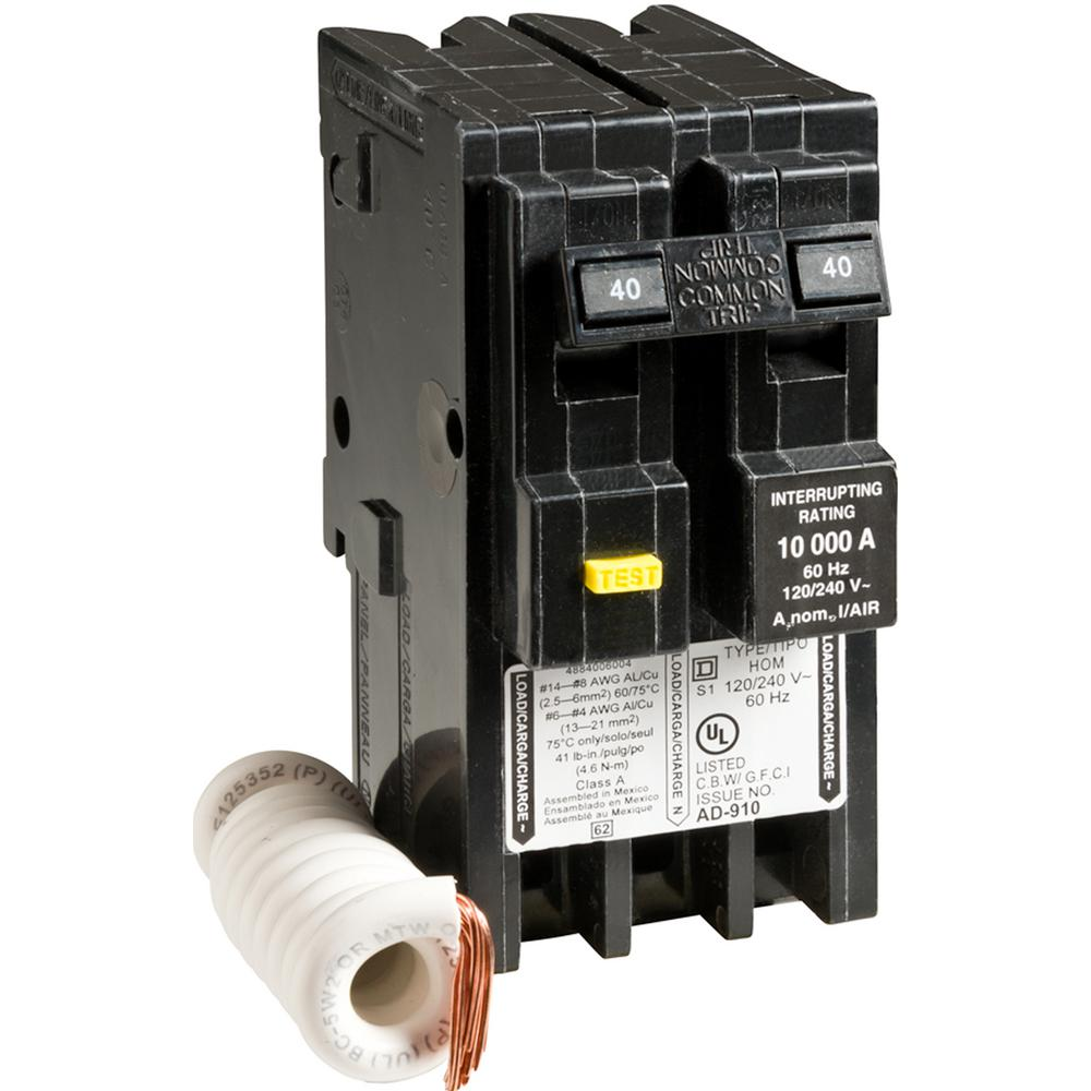 Square D Homeline 40 Amp 2 Pole Gfci Circuit Breaker