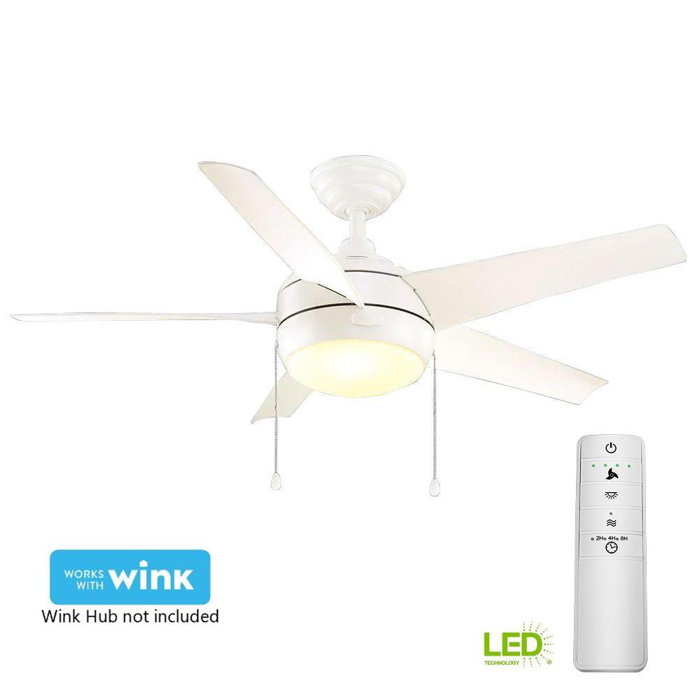 Home Decorators Collection Windward 44 in. LED Matte White Smart Ceiling Fan with Light Kit and WINK Remote Control