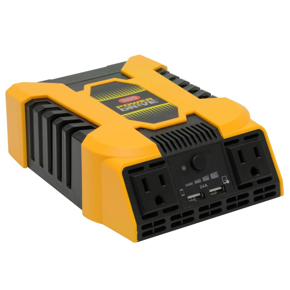 Power Drive 300-Watt DC to AC Power Inverter with 12-Volt...