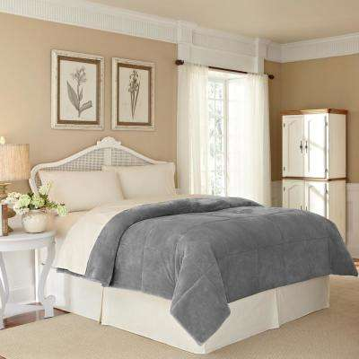 Plush Lux Grey Polyester Full/Queen Blanket