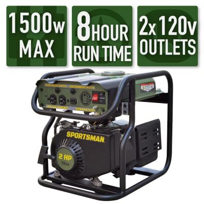 1,500-Watt/900-Watt Recoil Start Gasoline Powered Portable Generator
