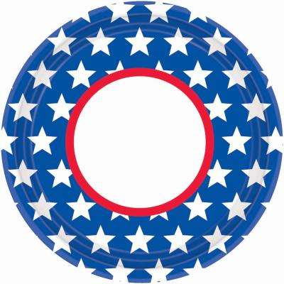 10.5 in. x 10.5 in. Red, White and Blue Star Plates (18-Count, 3-Pack)
