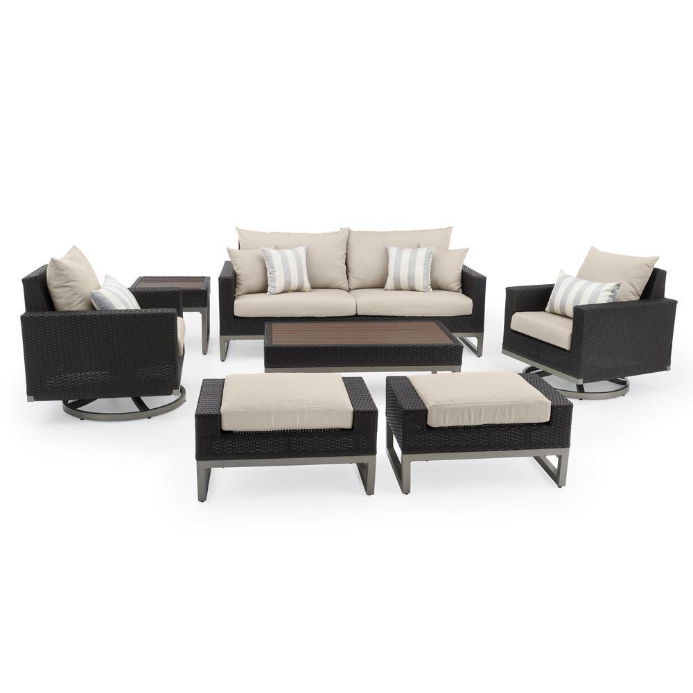 Milo Espresso 7-Piece Wicker Motion Patio Deep Seating Conversation Set with Slate Grey Cushions