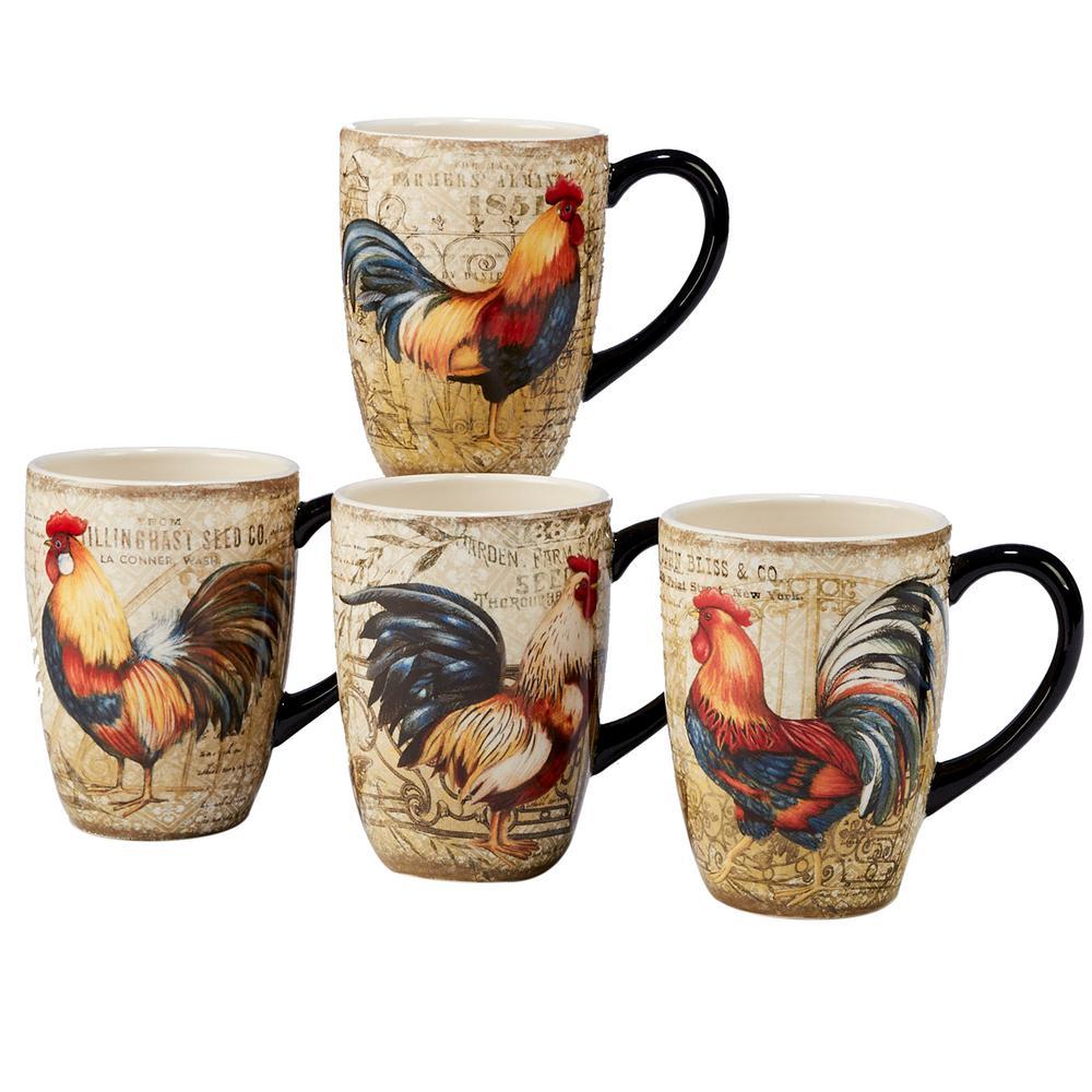 Certified International Gilded Rooster 4-Piece Multi-Colored 20 oz. Mug Set