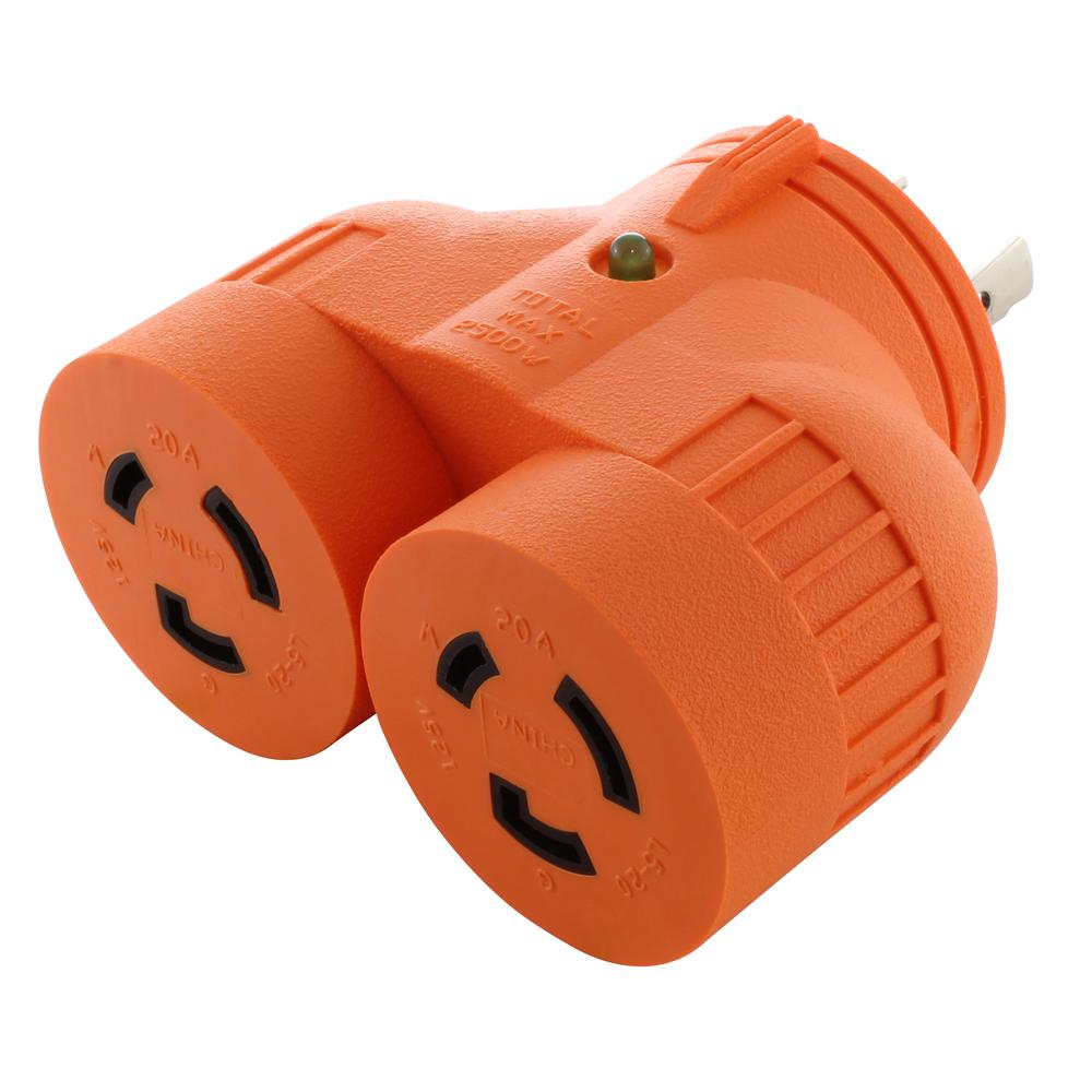 Power Tool V-Duo Outlet Adapter L5-20P 20 Amp 3-Prong Plug to