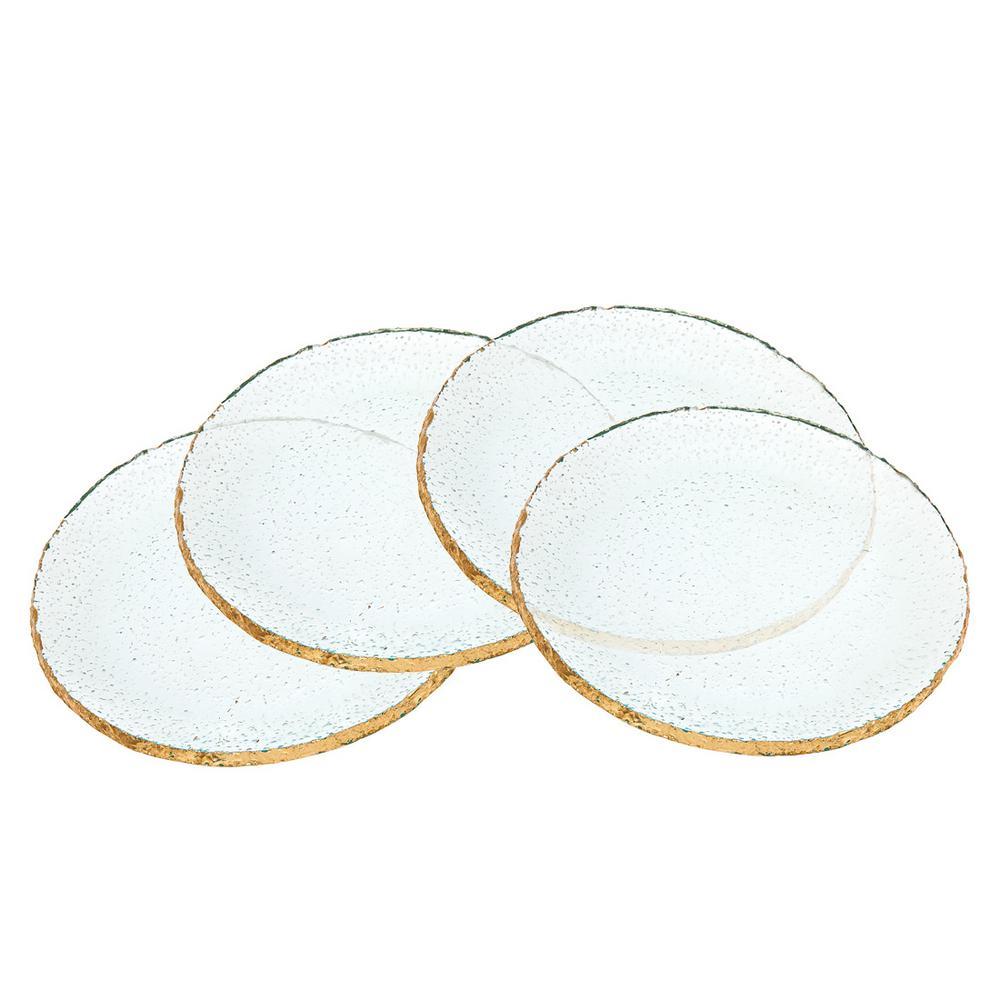7 in. Harper Crystal Dessert Plates with Gold Trim (Set of 4)