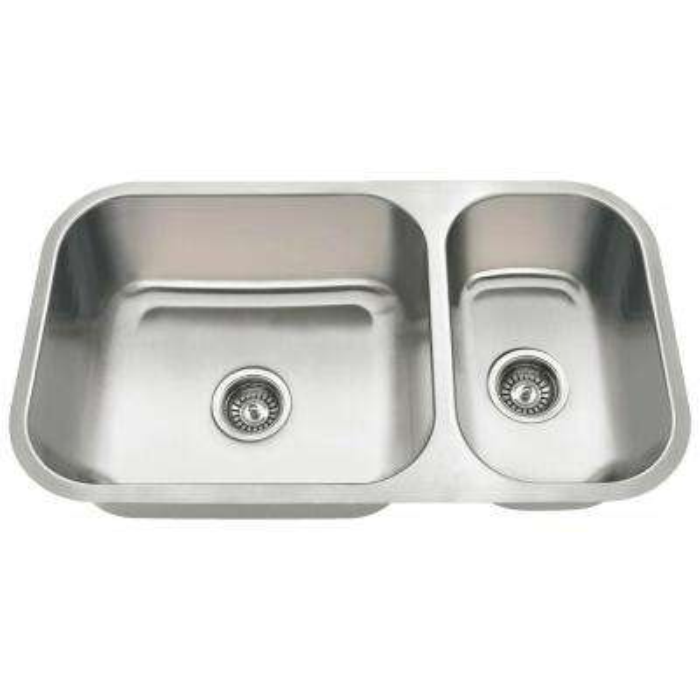 Undermount Stainless Steel 32 in. Double Bowl Kitchen Sink in 16-Gauge