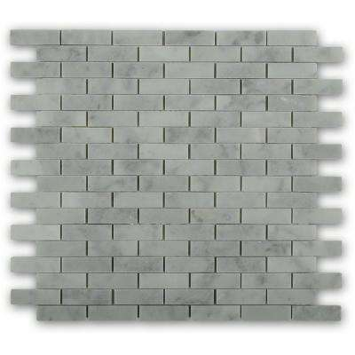 White Carrera Brick Joint 12 in. x 12 in. Polished  Marble Mosaic  Tile