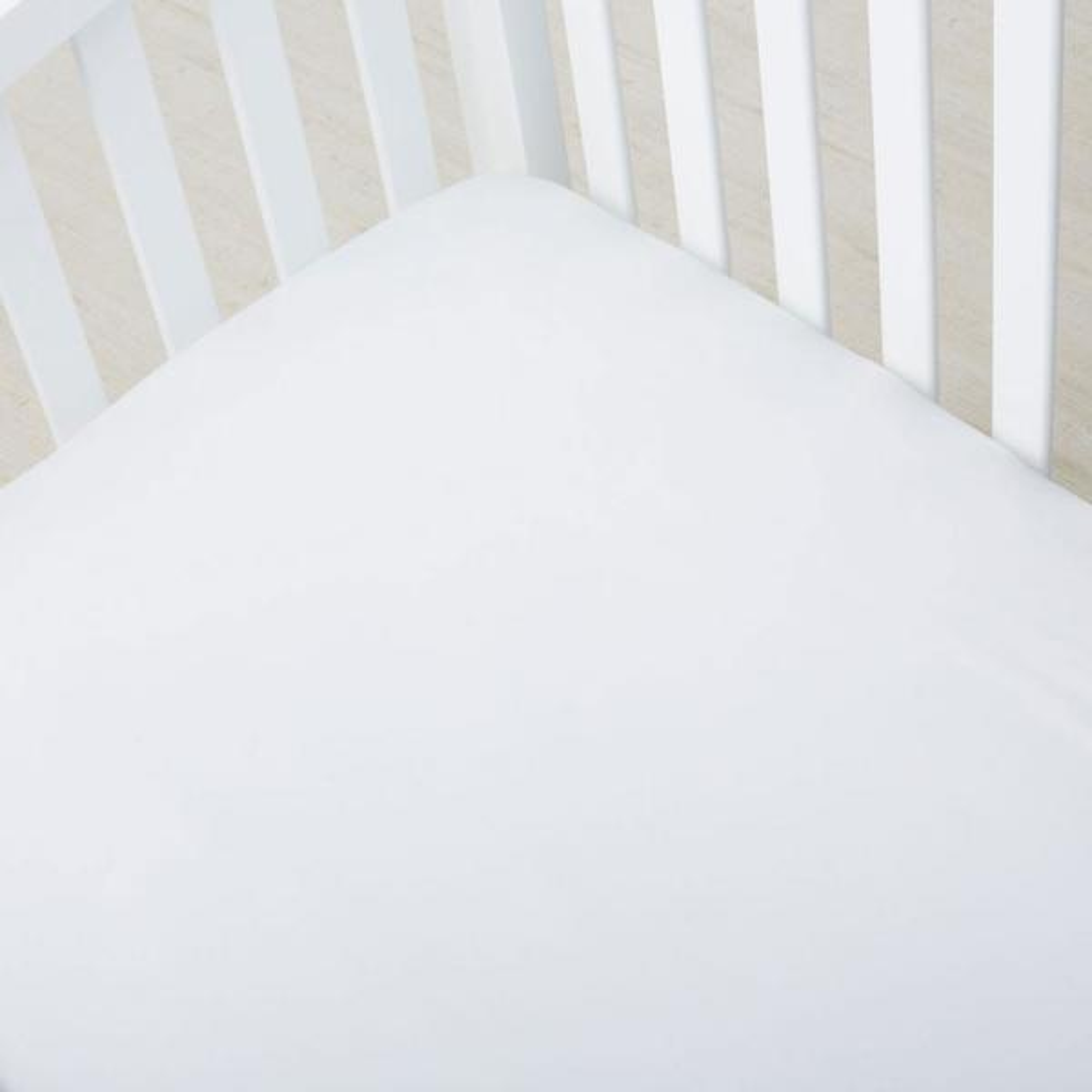 The Company Store 300-Thread Count White Organic Sateen Crib Sheet EB92-C4-WHITE