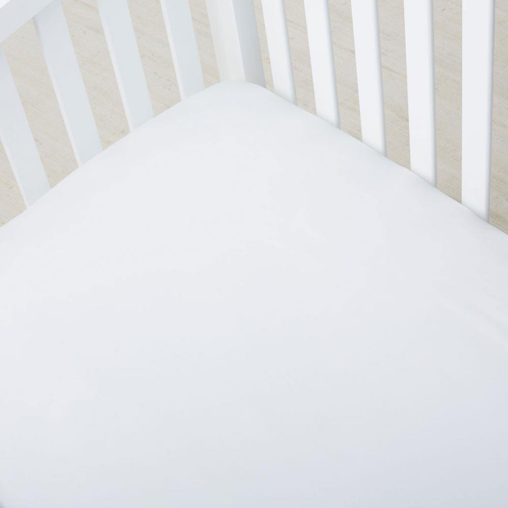 The Company Store 300-Thread Count White Organic Sateen Crib Sheet EB92-C6-WHITE
