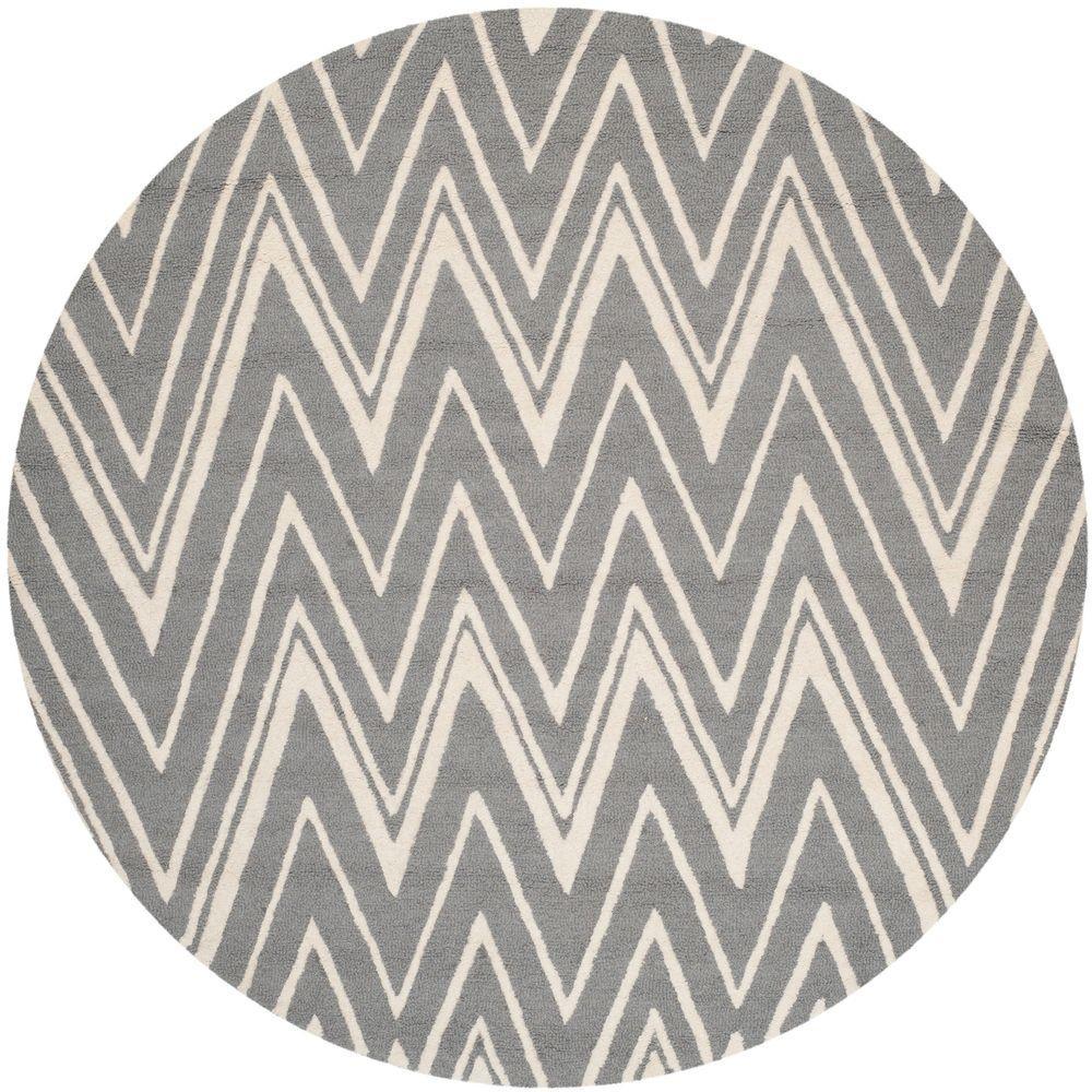 Safavieh Cambridge Dark Gray/Ivory 6 ft. x 6 ft. Round Area Rug