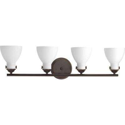 Fuller Collection 4-Light Antique Bronze Bathroom Vanity Light with Glass Shades