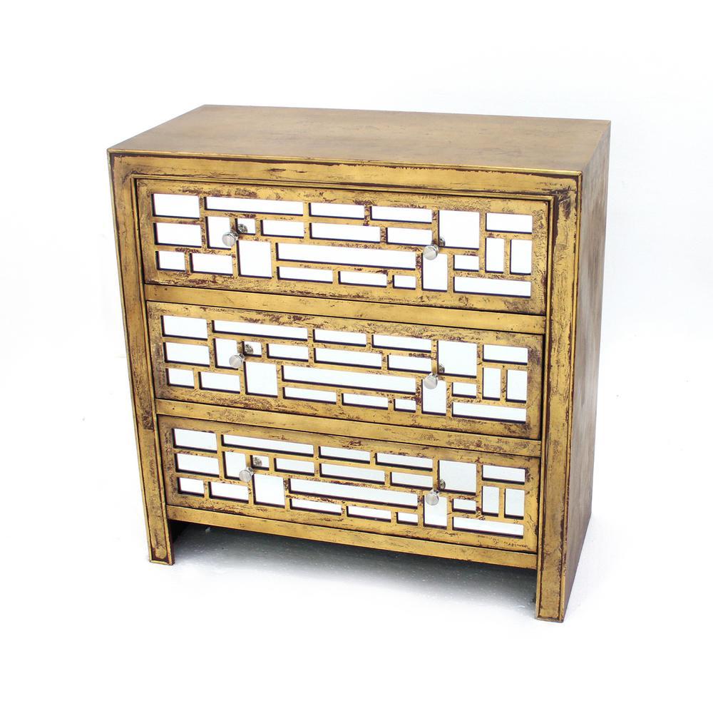 Gold Wood Mirror 3-Door Storage Cabinet