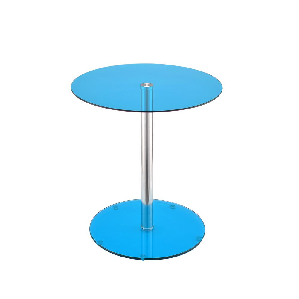 Halley Blue Glass And Chrome Side Table