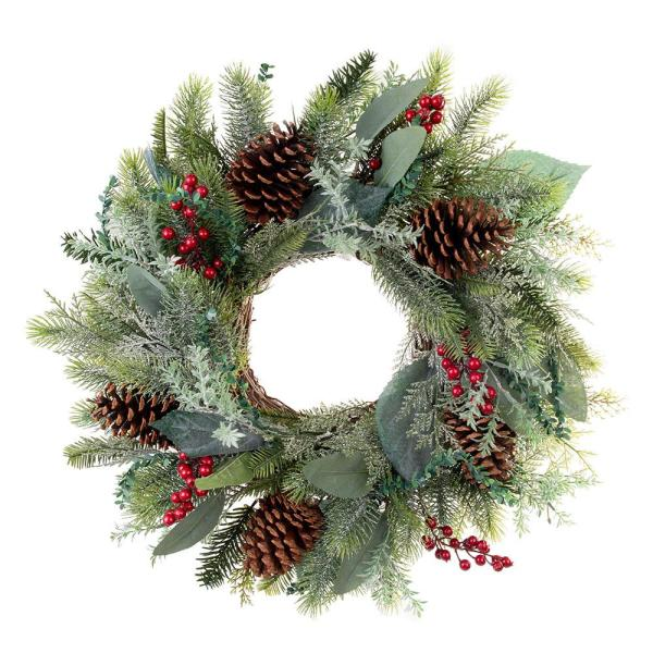 Village Lighting Company 24 In Winter Frost Wreath V 20678 The Home Depot