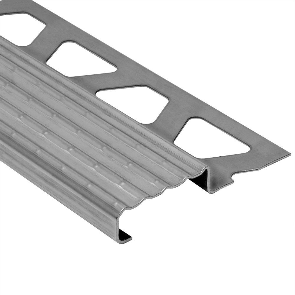 Schluter Trep-E Stainless Steel 1 in. x 8 ft. 2-1/2 in. Metal Stair Nose Tile Edging Trim