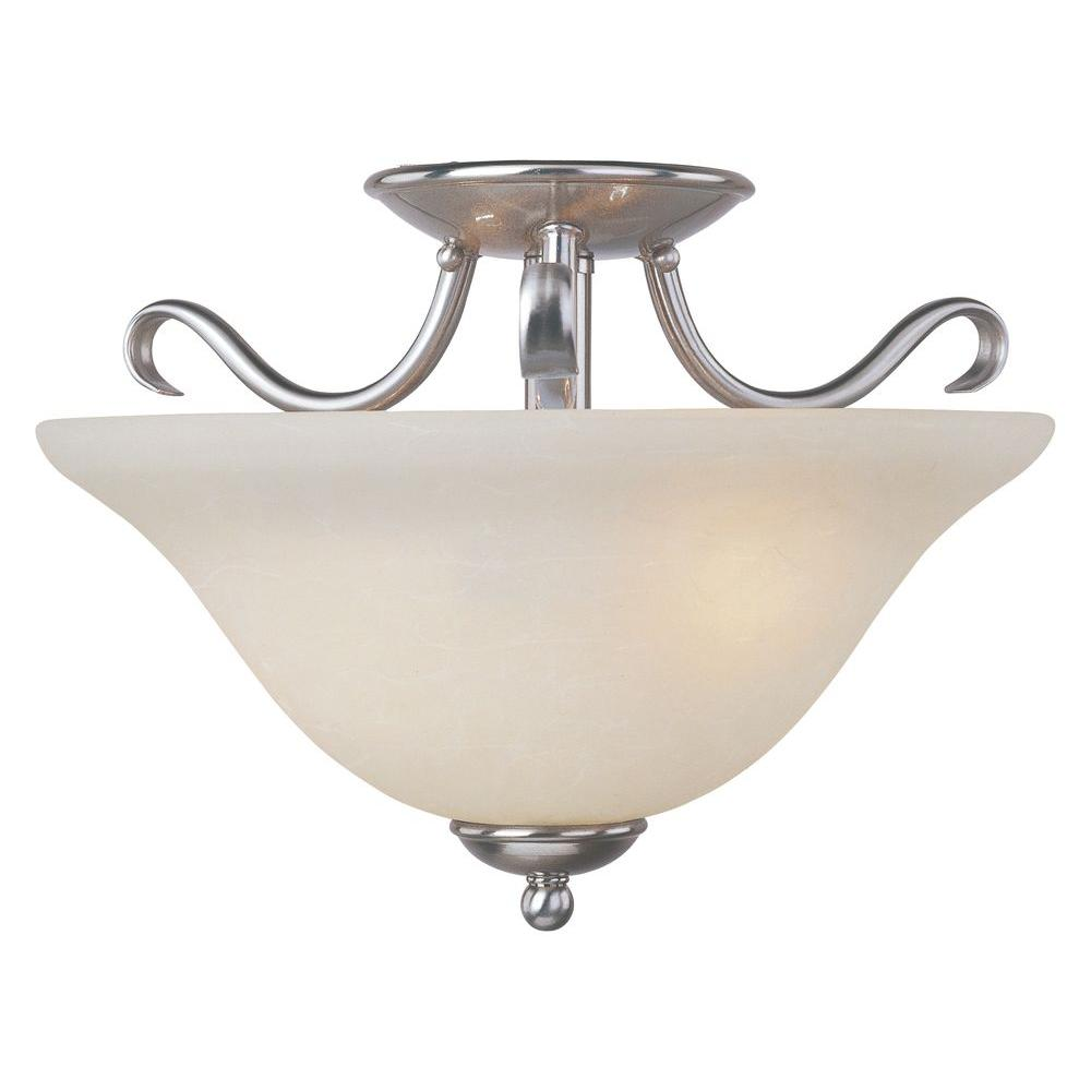Basix EE 2-Light Satin Nickel Semi-Flush Mount Light