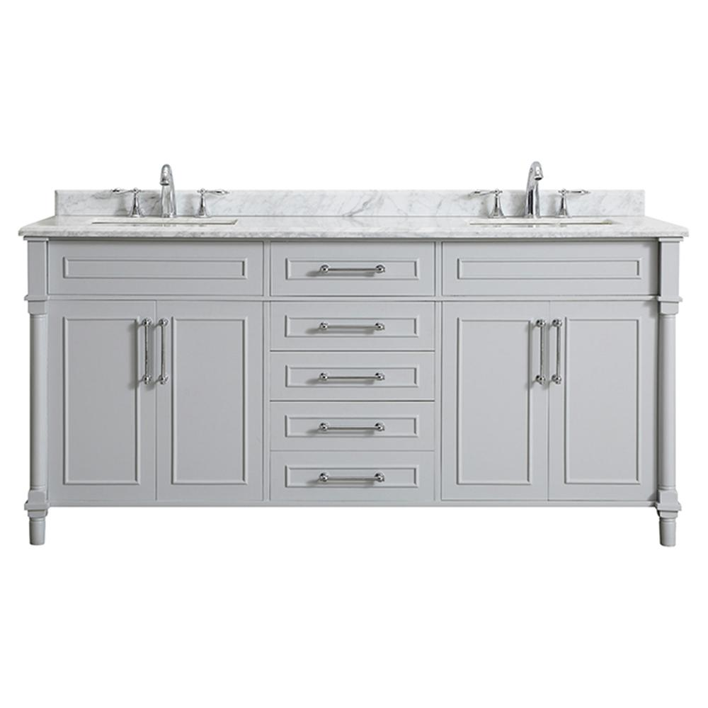 Reviews For Home Decorators Collection Aberdeen 72 In W X 22 In D Bath Vanity In Dove Grey With Carrara Marble Top With White Sinks Aberdeen 72g The Home Depot