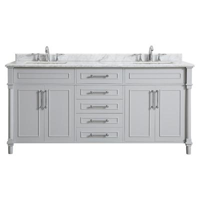 Aberdeen 72 in. W x 22 in. D Bath Vanity in Dove Grey with Carrara Marble Top with White Sinks