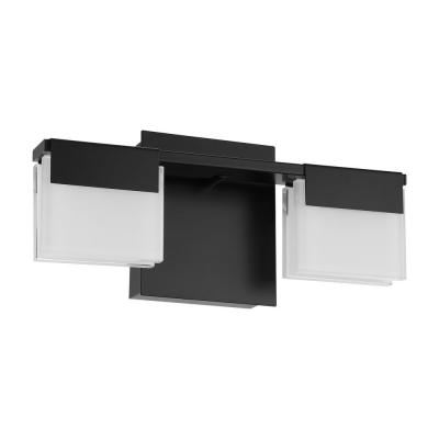 Vente 12.60 in. 2-Light Matte Black Integrated LED Vanity Light with Frosted White Glass Shades