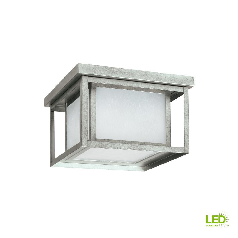 Hunnington Weathered Pewter 2-Light Outdoor Flush Mount with LED Bulbs