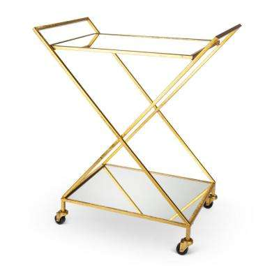 Bar Cart 34.3 in. H Gold with Mirror