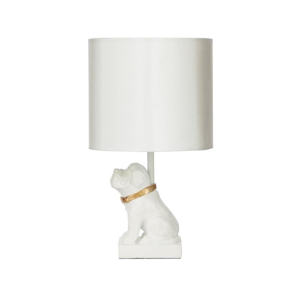 Exceptional White And Gold Table Lamp With Linen Shade