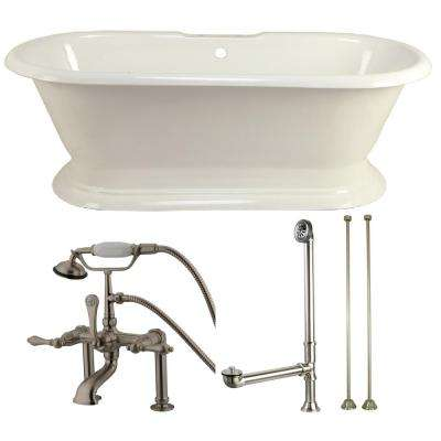 Pedestal 6 ft. Cast Iron Flatbottom Bathtub in White and Faucet Combo in Satin Nickel
