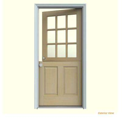 32 in. x 80 in. 9 Lite Unfinished Wood Prehung Right-Hand Inswing Dutch Front Door w/Primed AuraLast Jamb and Brickmold
