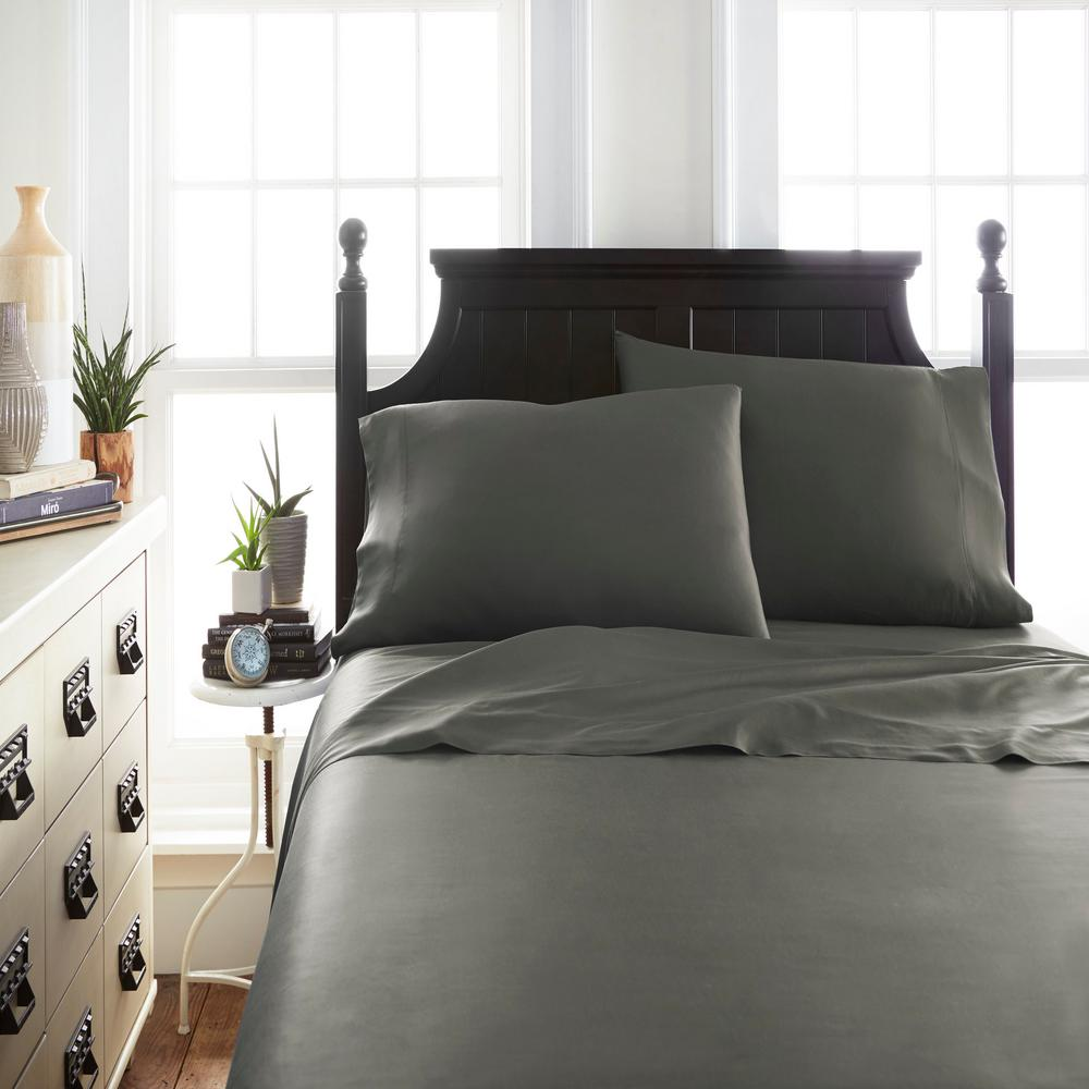 Bamboo Gray Twin 4-Piece Bed Sheet Set