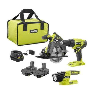 18-Volt Cordless ONE+ Drill/Driver, Circular Saw Kit with (2) 1.5 Ah Batteries, Charger, and Bag and LED Light