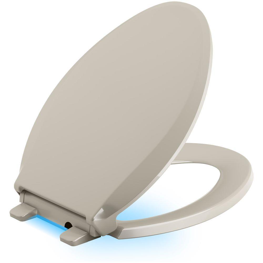 Strange Kohler Cachet Led Nightlight Elongated Quiet Closed Front Toilet Seat In Sandbar Gamerscity Chair Design For Home Gamerscityorg