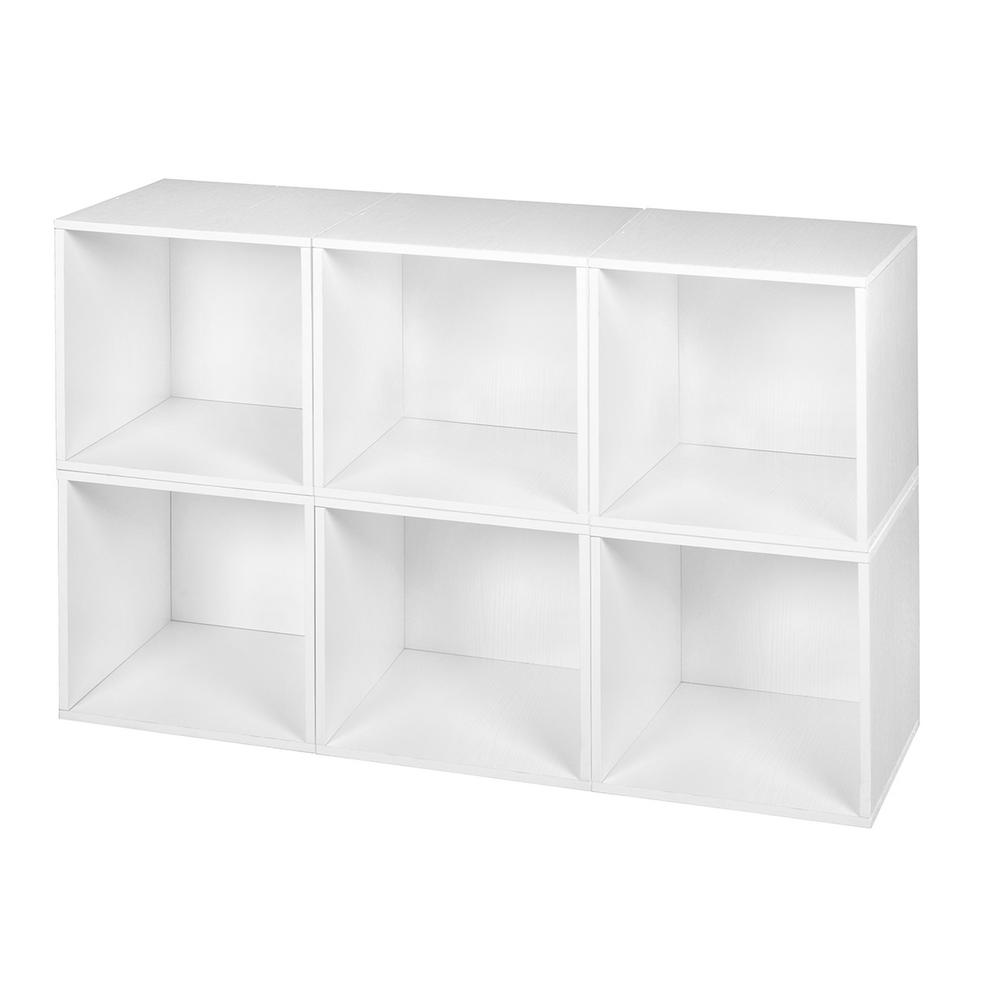 Cubo 13 in. x 13 in. White Wood Grain Modular 6-Cube Orga...